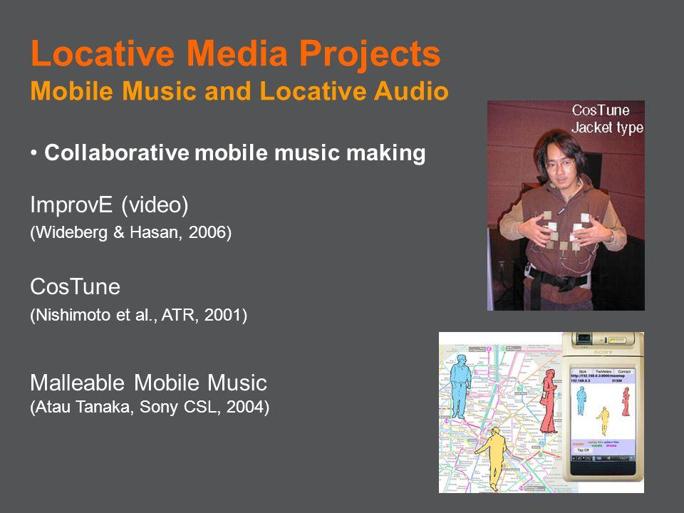 Collaborative mobile music making ImprovE (video) (Wideberg & Hasan, 2006) CosTune (Nishimoto et al., ATR, 2001) Malleable Mobile Music (Atau Tanaka,