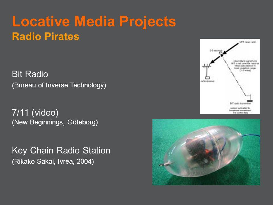 Bit Radio (Bureau of Inverse Technology) 7/11 (video) (New Beginnings, Göteborg) Key Chain Radio Station (Rikako Sakai, Ivrea, 2004) Locative Media Pr