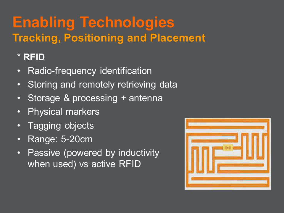 * RFID Radio-frequency identification Storing and remotely retrieving data Storage & processing + antenna Physical markers Tagging objects Range: 5-20