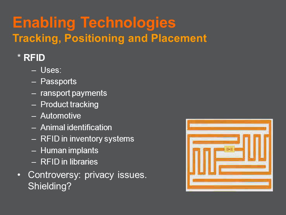 * RFID –Uses: –Passports –ransport payments –Product tracking –Automotive –Animal identification –RFID in inventory systems –Human implants –RFID in l