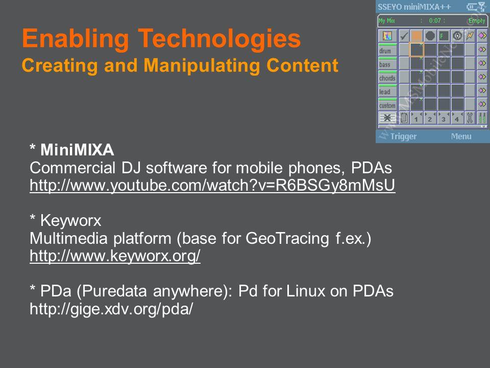 * MiniMIXA Commercial DJ software for mobile phones, PDAs http://www.youtube.com/watch?v=R6BSGy8mMsU * Keyworx Multimedia platform (base for GeoTracin