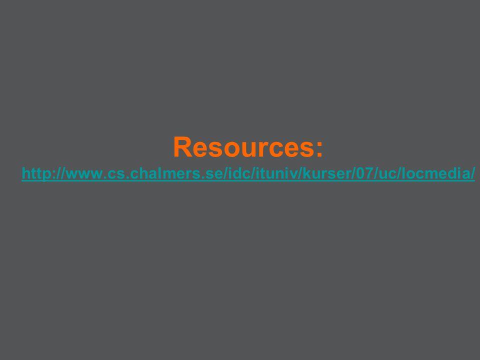 Resources: http://www.cs.chalmers.se/idc/ituniv/kurser/07/uc/locmedia/ http://www.cs.chalmers.se/idc/ituniv/kurser/07/uc/locmedia/