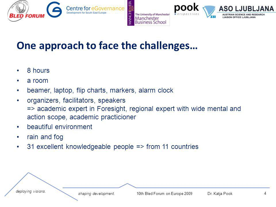 deploying visions. shaping development. 4 10th Bled Forum on Europe 2009 Dr. Katja Pook One approach to face the challenges… 8 hours a room beamer, la