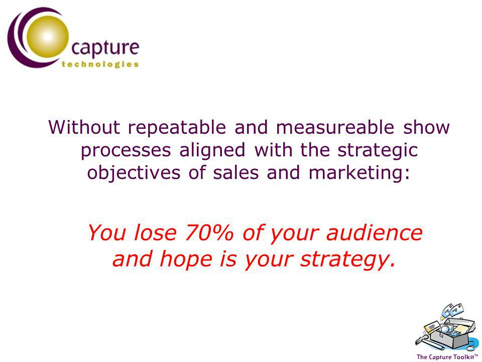 Without repeatable and measureable show processes aligned with the strategic objectives of sales and marketing: You lose 70% of your audience and hope is your strategy.