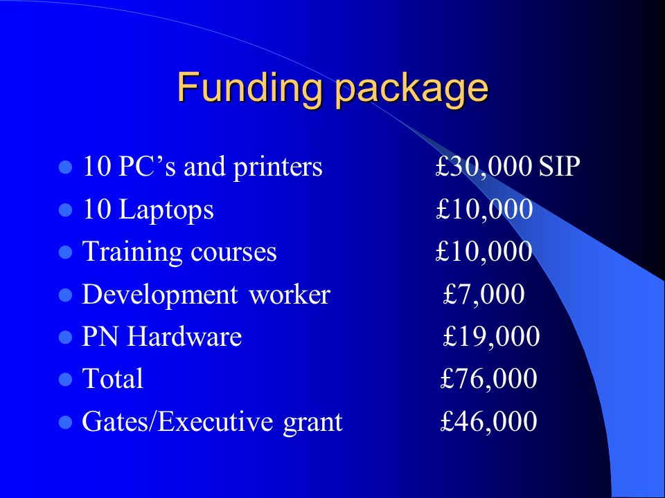 Funding package 10 PCs and printers £30,000 SIP 10 Laptops £10,000 Training courses £10,000 Development worker £7,000 PN Hardware £19,000 Total £76,000 Gates/Executive grant £46,000