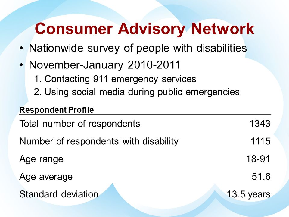 FCC SurveyFCC Survey Emergency Access Advisory Committee Nationwide survey of people with disabilities and seniors March 2011 – April 2011 Questions regarding emergency calling More than 3000 respondents Report pending