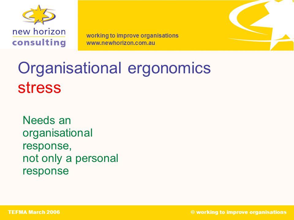 working to improve organisations www.newhorizon.com.au TEFMA March 2006© working to improve organisations Organisational ergonomics stress Needs an organisational response, not only a personal response