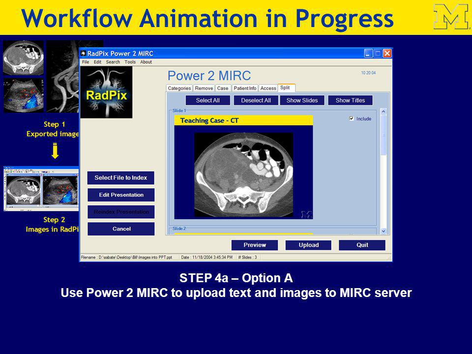 STEP 4a – Option A Use Power 2 MIRC to upload text and images to MIRC server Step 4a Power 2 MIRC Workflow Animation in Progress
