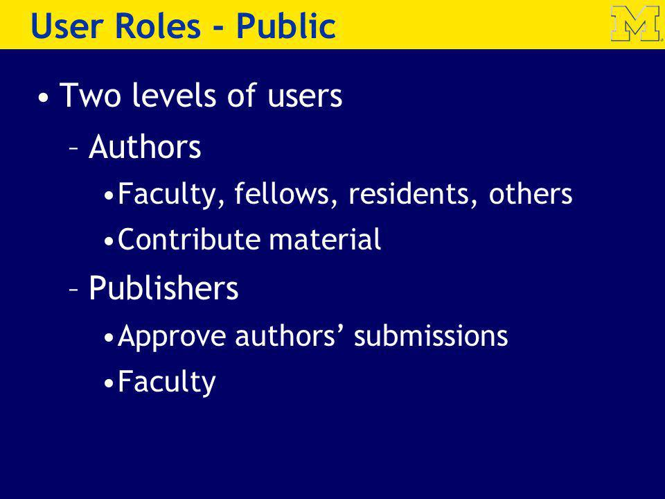 Two levels of users –Authors Faculty, fellows, residents, others Contribute material –Publishers Approve authors submissions Faculty User Roles - Publ