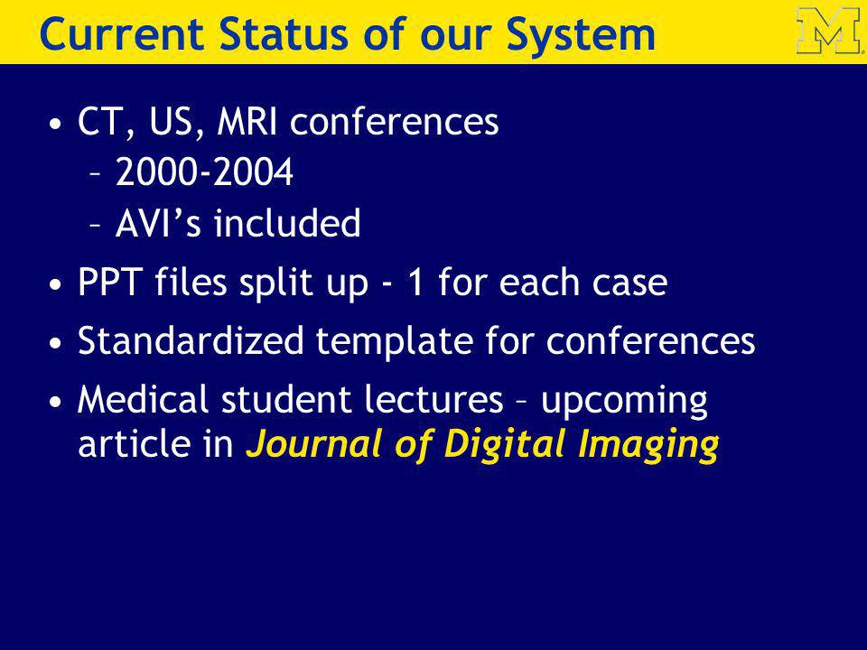 Current Status of our System CT, US, MRI conferences –2000-2004 –AVIs included PPT files split up - 1 for each case Standardized template for conferences Medical student lectures – upcoming article in Journal of Digital Imaging