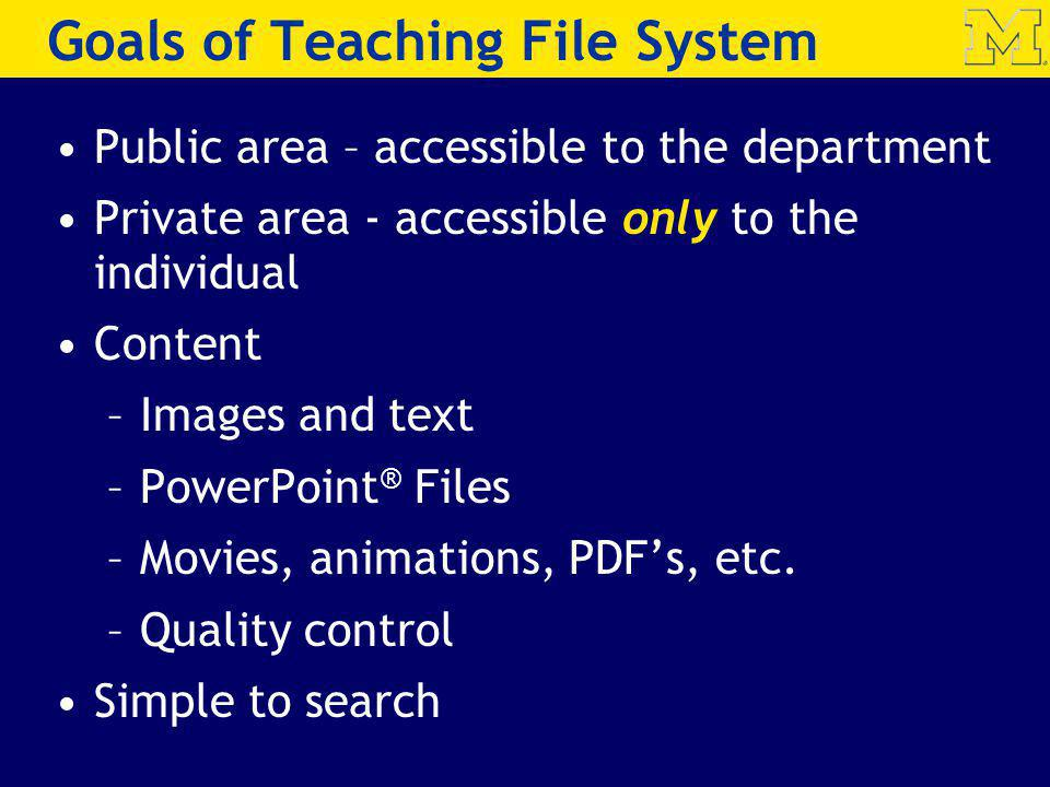Goals of Teaching File System Public area – accessible to the department Private area - accessible only to the individual Content –Images and text –Po