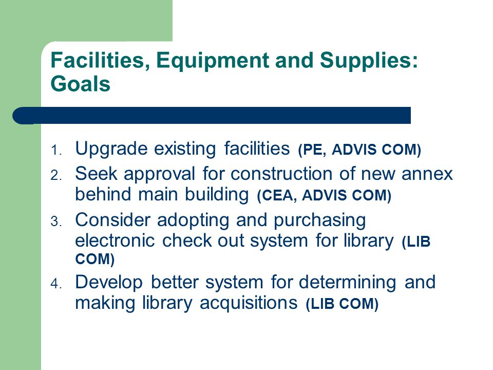 Facilities, Equipment and Supplies: Goals 1. Upgrade existing facilities (PE, ADVIS COM) 2. Seek approval for construction of new annex behind main bu