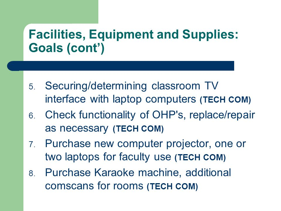 Facilities, Equipment and Supplies: Goals (cont) 5. Securing/determining classroom TV interface with laptop computers (TECH COM) 6. Check functionalit
