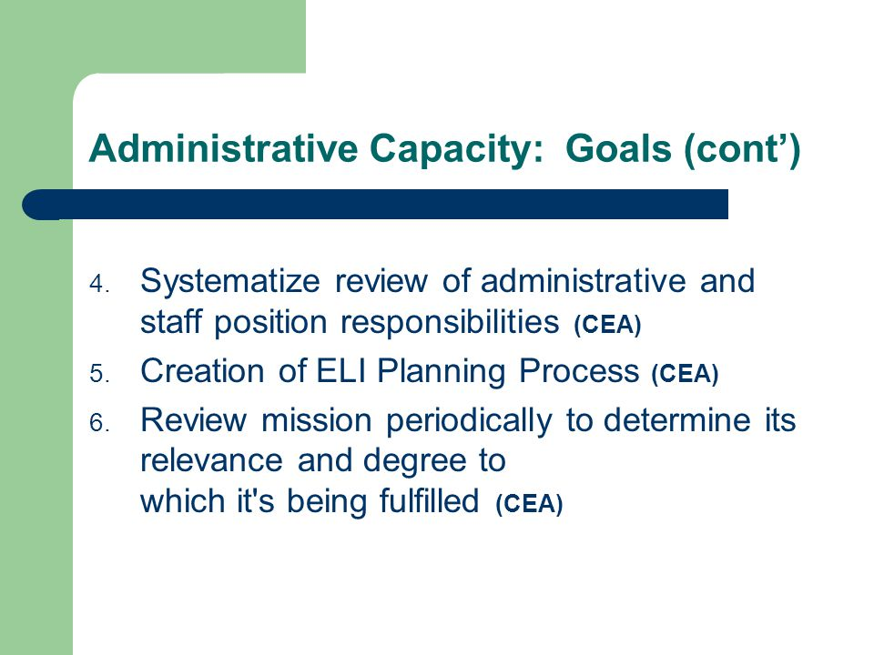 Administrative Capacity: Goals (cont) 4. Systematize review of administrative and staff position responsibilities (CEA) 5. Creation of ELI Planning Pr