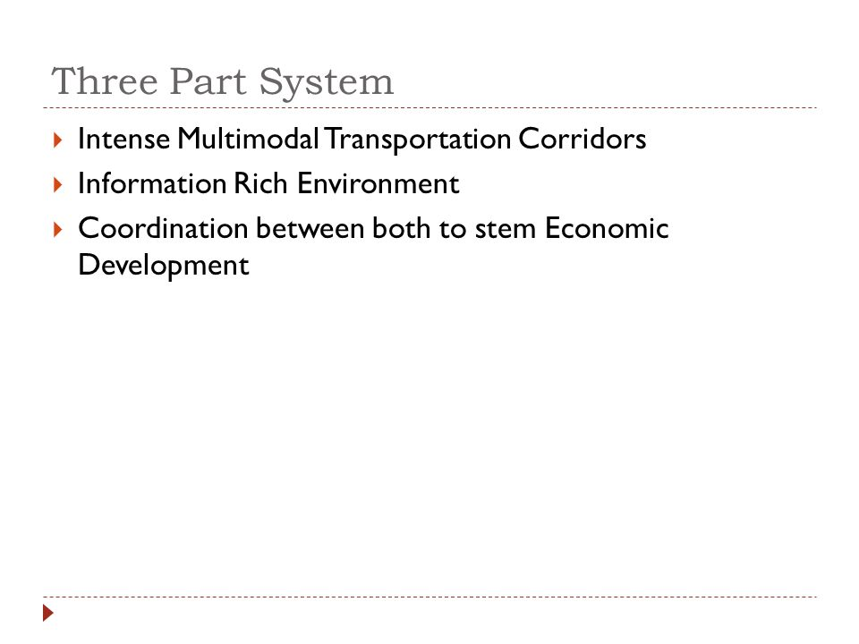 Three Part System Intense Multimodal Transportation Corridors Information Rich Environment Coordination between both to stem Economic Development