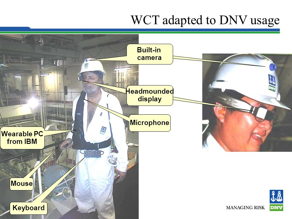 Slide 9 WCT adapted to DNV usage Keyboard Mouse Wearable PC from IBM Mouse Headmounded display Built-in camera Microphone