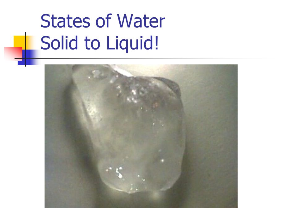 States of Water Solid to Liquid!