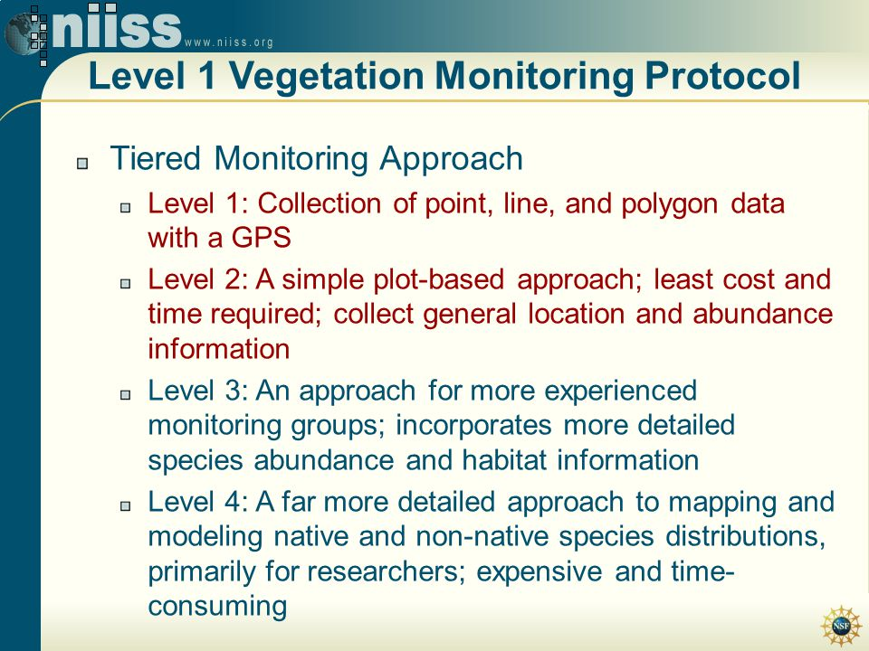 Level 1 Vegetation Monitoring Protocol Tiered Monitoring Approach Level 1: Collection of point, line, and polygon data with a GPS Level 2: A simple pl