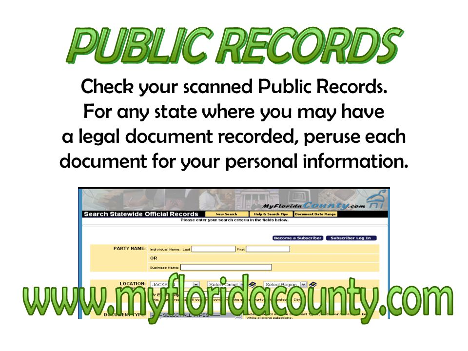 Check your scanned Public Records. For any state where you may have a legal document recorded, peruse each document for your personal information.