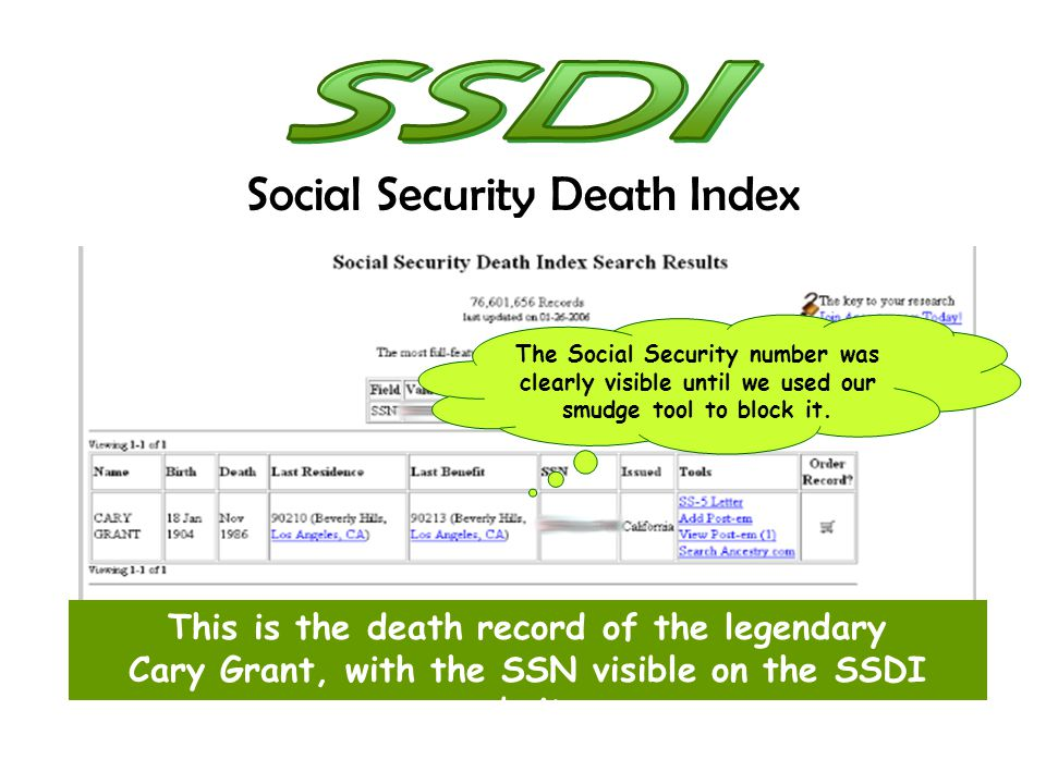 The Social Security number was clearly visible until we used our smudge tool to block it. This is the death record of the legendary Cary Grant, with t