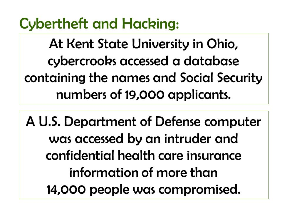 At Kent State University in Ohio, cybercrooks accessed a database containing the names and Social Security numbers of 19,000 applicants. Cybertheft an