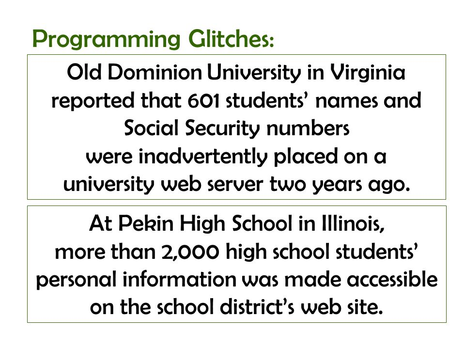 Old Dominion University in Virginia reported that 601 students names and Social Security numbers were inadvertently placed on a university web server