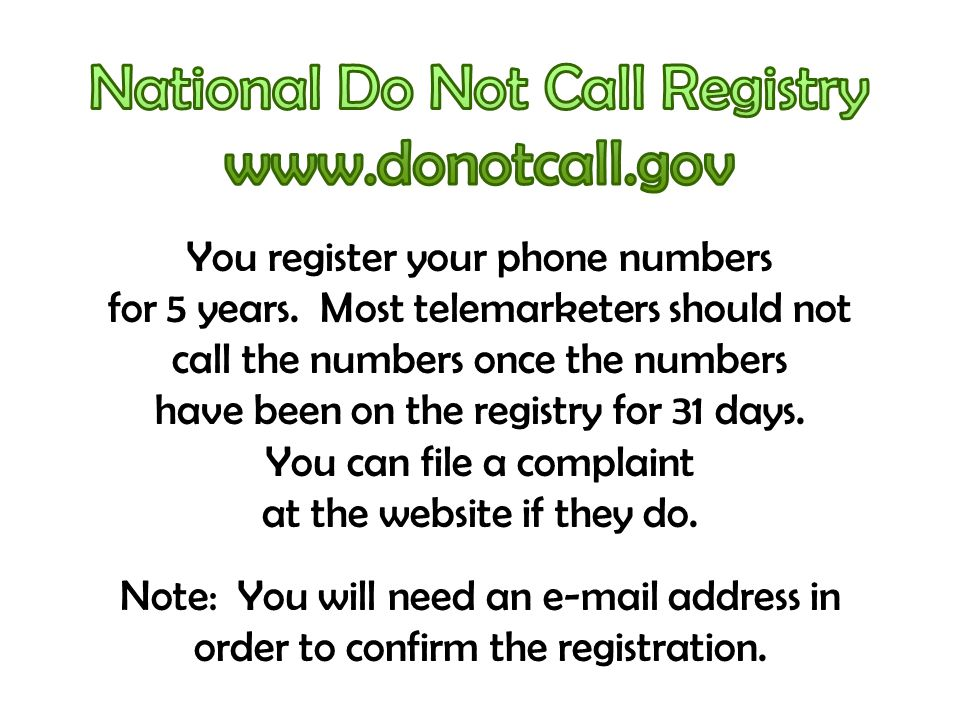 You register your phone numbers for 5 years.