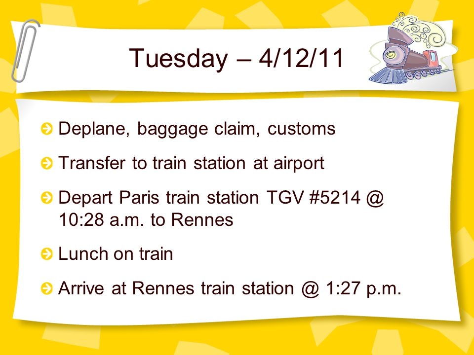 Monday – 4/11/11 Arrive at the Rochester International Airport – upper departures level 12:45 p.m.