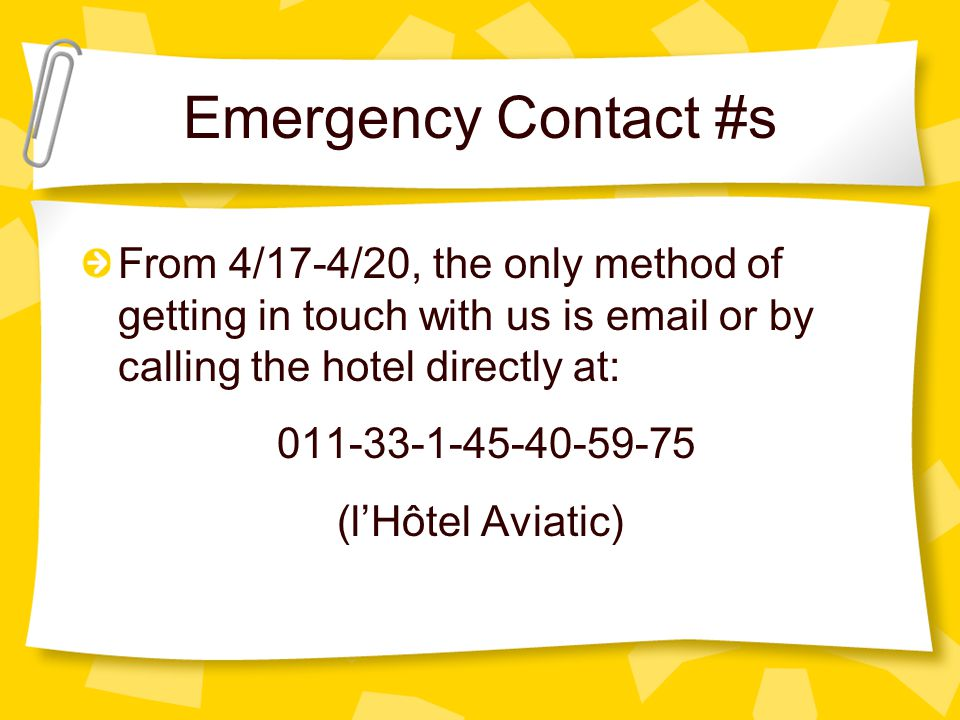 Emergency Contact #s You may call Mrs. Mary Grow, our principal, during regular school hours (585) 339-1450 and she will be able to get in touch with