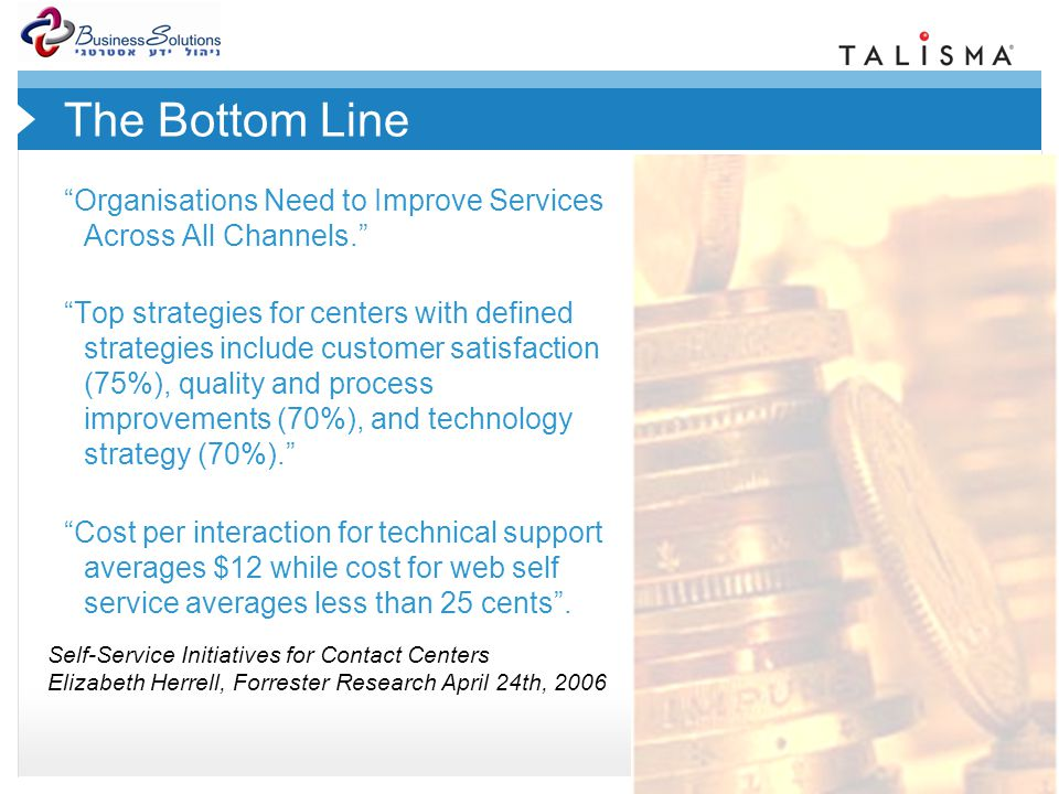 © 2007 Talisma Corporation The Bottom Line Organisations Need to Improve Services Across All Channels.