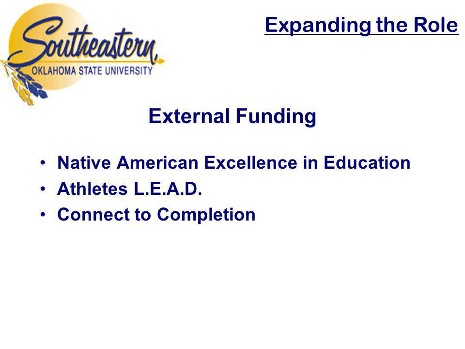 External Funding Native American Excellence in Education Athletes L.E.A.D. Connect to Completion Expanding the Role