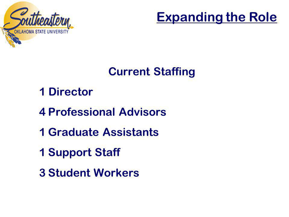 Current Staffing 1 Director 4Professional Advisors 1Graduate Assistants 1Support Staff 3Student Workers
