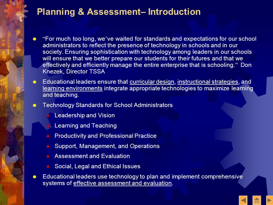 Planning & Assessment– Introduction