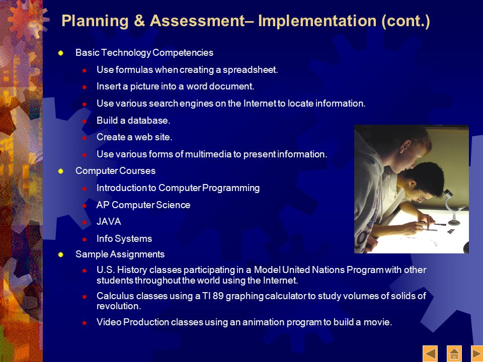 Planning & Assessment– Implementation (cont.) Basic Technology Competencies Use formulas when creating a spreadsheet.