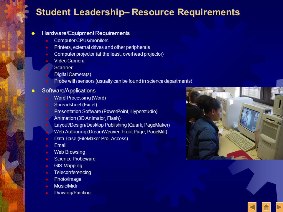 Student Leadership– Resource Requirements Hardware/Equipment Requirements Computer CPUs/monitors Printers, external drives and other peripherals Computer projector (at the least, overhead projector) Video Camera Scanner Digital Camera(s) Probe with sensors (usually can be found in science departments) Software/Applications Word Processing (Word) Spreadsheet (Excel) Presentation Software (PowerPoint, Hyperstudio) Animation (3D Animator, Flash) Layout/Design/Desktop Publishing (Quark, PageMaker) Web Authoring (DreamWeaver, Front Page, PageMill) Data Base (FileMaker Pro, Access) Email Web Browsing Science Probeware GIS Mapping Teleconferencing Photo/Image Music/Midi Drawing/Painting