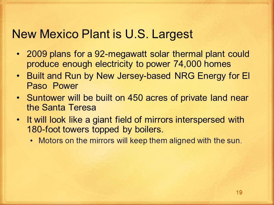 19 New Mexico Plant is U.S.