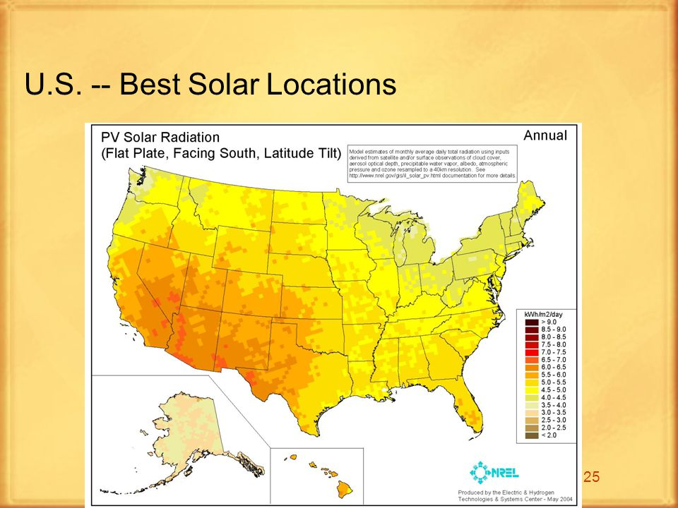 25 U.S. -- Best Solar Locations