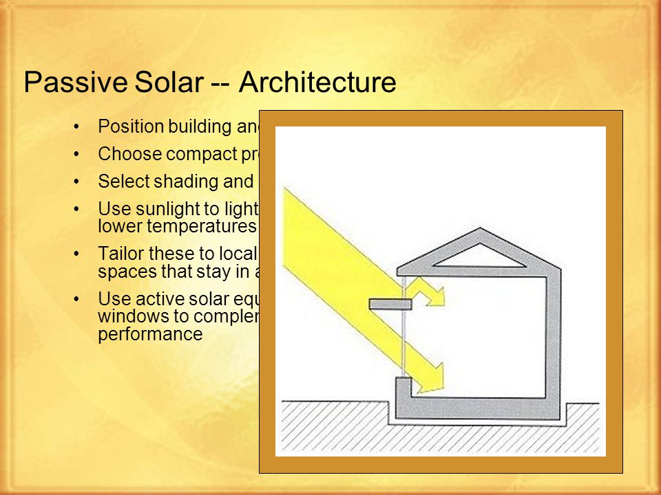 5 Passive Solar -- Architecture Position building and windows for most Sunlight Choose compact proportion (a low surface area to volume ratio) Select shading and overhangs Use sunlight to light interiors and replace artificial lighting for lower temperatures and less air conditioning Tailor these to local climate and environment to produce well-lit spaces that stay in a comfortable temperature range Use active solar equipment such as pumps, fans and switchable windows to complement passive design and improve system performance