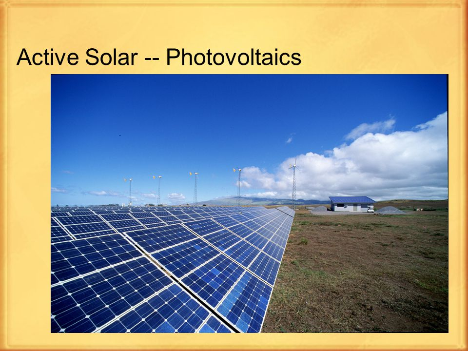 7 Active Solar -- Photovoltaics A solar power technology that generates electricity (direct current) using semiconductors called solar cells The photovoltaic effect comes when sunlight hits a PV panel; it releases electrons from special layers of silicon and pushes them across an electric field The first solar cell was constructed by Charles Fritts in the 1880s Researchers Gerald Pearson, Calvin Fuller, and Daryl Chapin created the silicon solar cell in 1954
