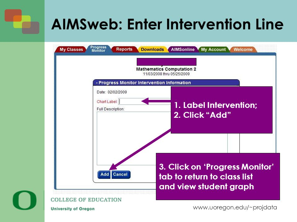 www.uoregon.edu/~projdata AIMSweb: Enter Intervention Line 1. Label Intervention; 2. Click Add 3. Click on Progress Monitor tab to return to class lis