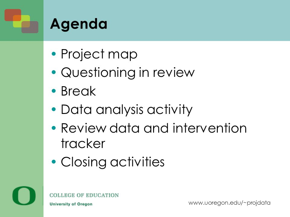 www.uoregon.edu/~projdata Agenda Project map Questioning in review Break Data analysis activity Review data and intervention tracker Closing activitie