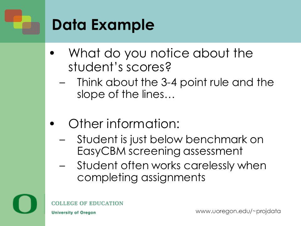 www.uoregon.edu/~projdata Data Example What do you notice about the students scores? –Think about the 3-4 point rule and the slope of the lines… Other