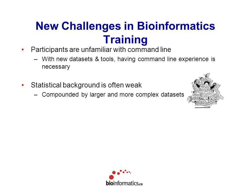 New Challenges in Bioinformatics Training Participants are unfamiliar with command line –With new datasets & tools, having command line experience is