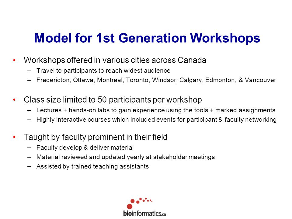 Model for 1st Generation Workshops Workshops offered in various cities across Canada –Travel to participants to reach widest audience –Fredericton, Ottawa, Montreal, Toronto, Windsor, Calgary, Edmonton, & Vancouver Class size limited to 50 participants per workshop –Lectures + hands-on labs to gain experience using the tools + marked assignments –Highly interactive courses which included events for participant & faculty networking Taught by faculty prominent in their field –Faculty develop & deliver material –Material reviewed and updated yearly at stakeholder meetings –Assisted by trained teaching assistants