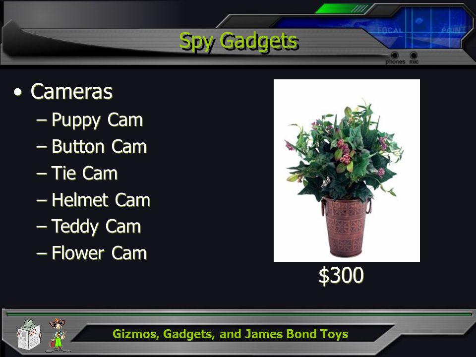 Gizmos, Gadgets, and James Bond Toys Spy Gadgets Cameras –Puppy Cam –Button Cam –Tie Cam –Helmet Cam –Teddy Cam –Flower Cam Cameras –Puppy Cam –Button
