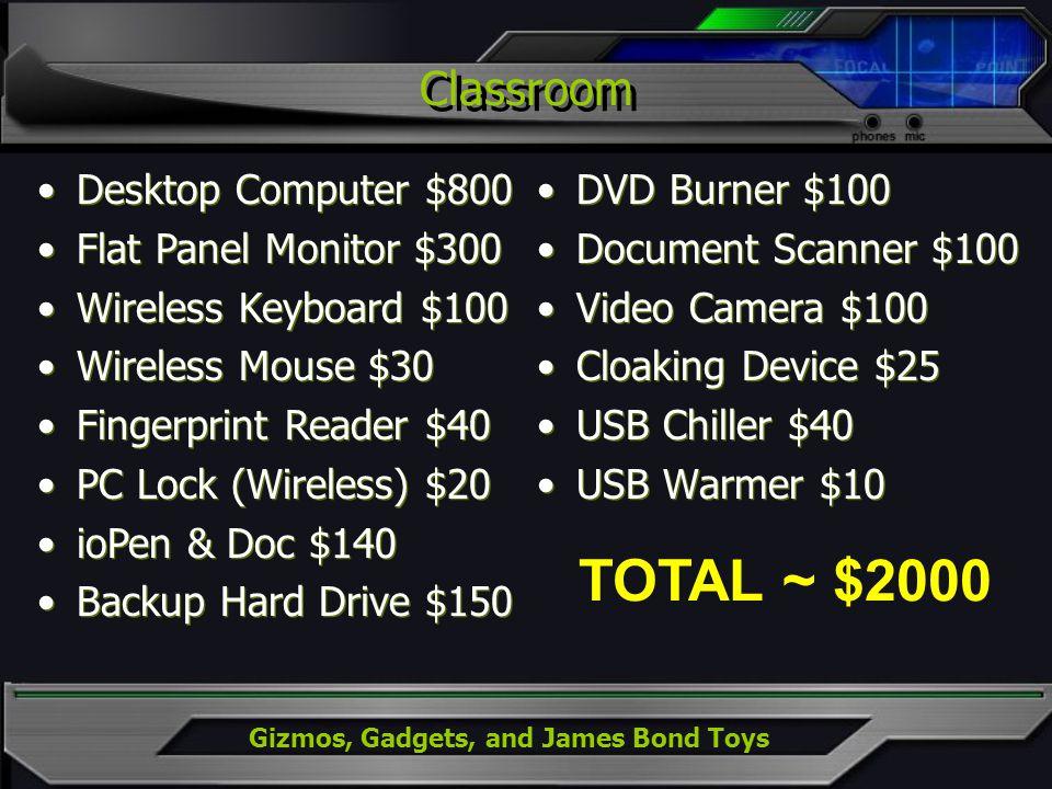 Gizmos, Gadgets, and James Bond Toys Classroom DVD Burner $100 Document Scanner $100 Video Camera $100 Cloaking Device $25 USB Chiller $40 USB Warmer
