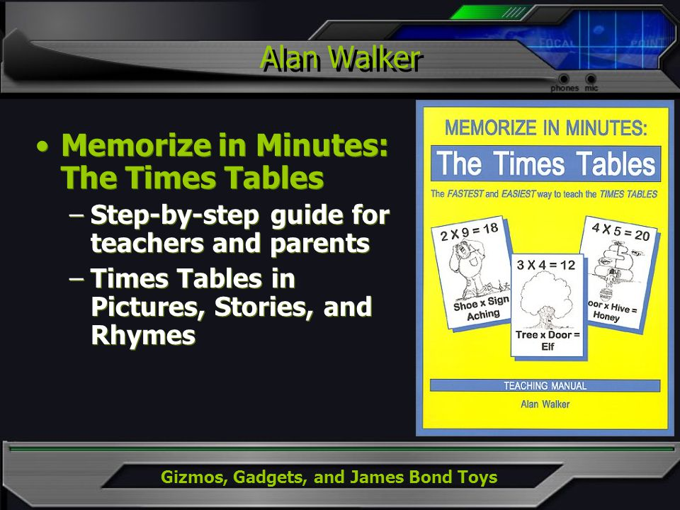 Gizmos, Gadgets, and James Bond Toys Alan Walker Memorize in Minutes: The Times Tables –Step-by-step guide for teachers and parents –Times Tables in Pictures, Stories, and Rhymes Memorize in Minutes: The Times Tables –Step-by-step guide for teachers and parents –Times Tables in Pictures, Stories, and Rhymes