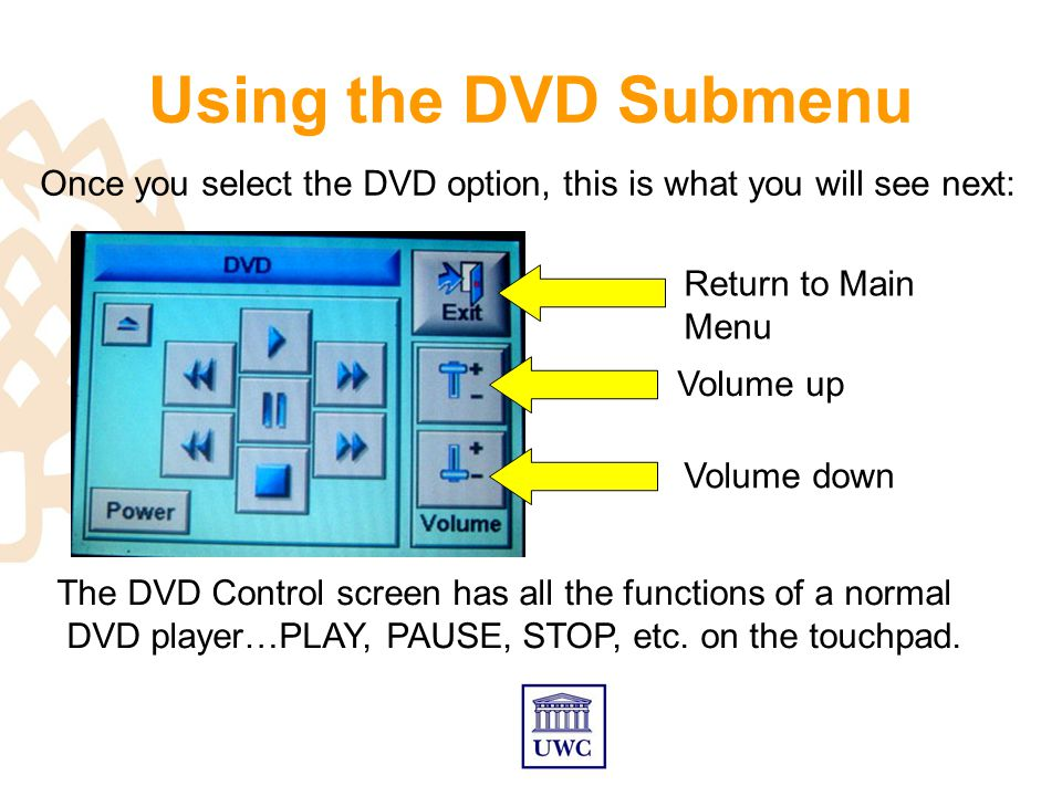 Using the DVD Submenu Return to Main Menu Volume down Volume up Once you select the DVD option, this is what you will see next: The DVD Control screen has all the functions of a normal DVD player…PLAY, PAUSE, STOP, etc.