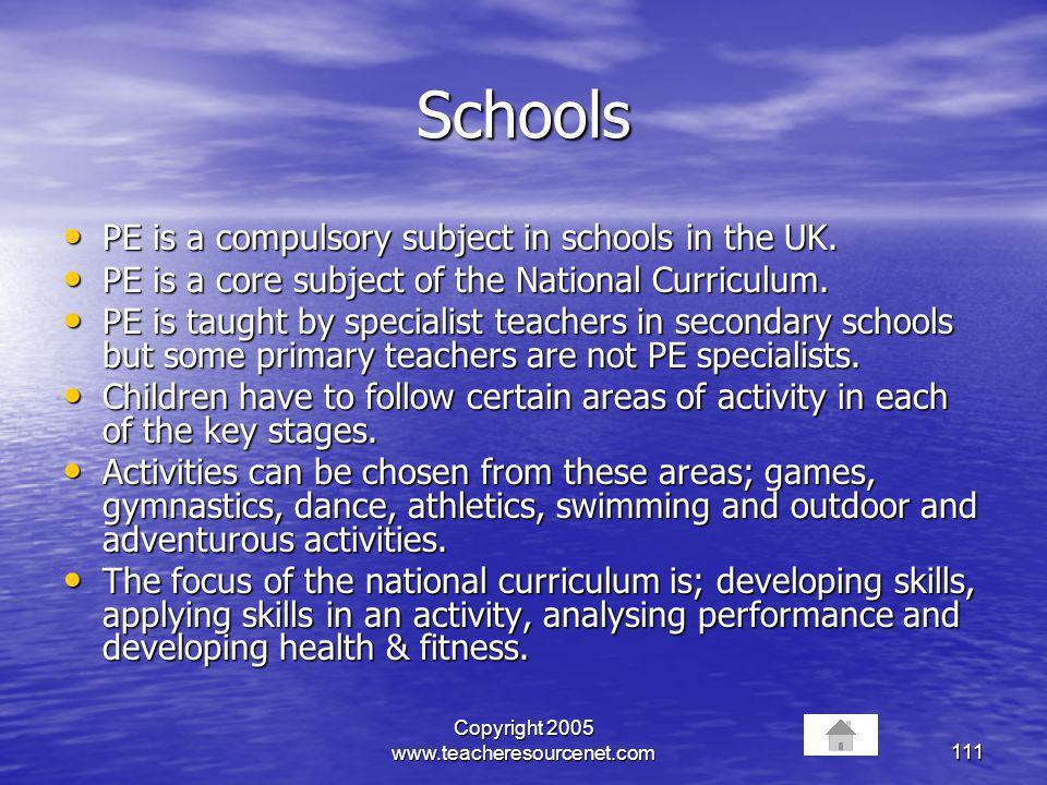 Copyright 2005 www.teacheresourcenet.com111 Schools PE is a compulsory subject in schools in the UK. PE is a compulsory subject in schools in the UK.