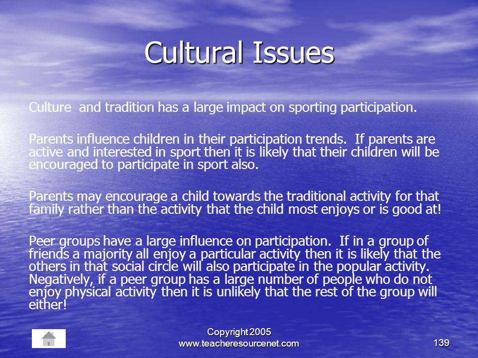 Copyright 2005 www.teacheresourcenet.com139 Cultural Issues Culture and tradition has a large impact on sporting participation. Parents influence chil